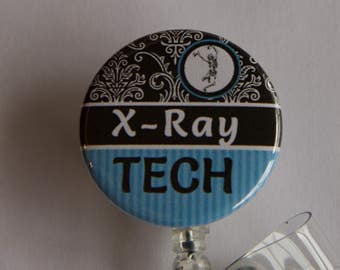 Badge Reel X-Ray Tech Badge Holder with Dangle Beads - ID Badge Reel- Badge Reel-Retractable ID Holder- Badge Pull