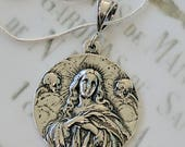 Necklace - Saint Mary Magdalene Carried by Angels - Sterling Silver - 30mm