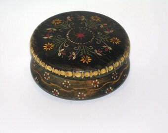 Vintage Round Wooden Jewelry Box Ornament wood box Pyrography Trinket Box Hand Tooled Handmade Box hand carved hand painted Polish Folk box