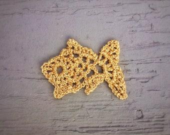 Crochet Applique Goldfish Animal Marine Theme Scrapbooking Card Making Embellishments
