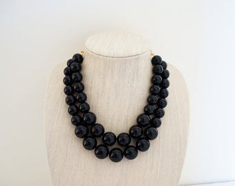 Big Black Beaded Necklace