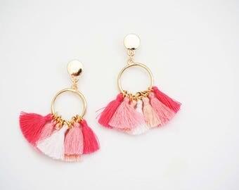 Pink Ombre Tassel Hoop Earrings