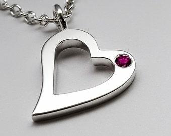 Garnet Open Heart Necklace Pendant In Sterling Silver - Sterling Silver Heart Necklace, Garnet Heart Necklace, Garnet Heart Pendant Sterling