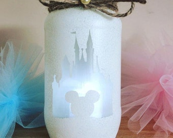 Mickey Mouse Disney land castle jar lantern ideal for decor, nursery, party, birthday gift white silhouette design hand painted