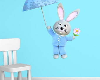 Wall decals rabbit umbrella A511 - Stickers Lapin parapluie A511