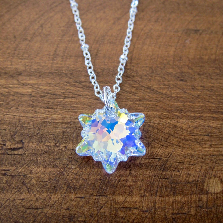 snowflake necklace made with a genuine swarovski snowflake