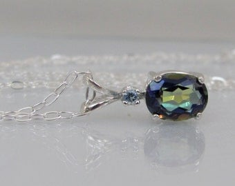 Mystic Blue Topaz Pendant, Mystic Topaz and Aquamarine, Rainbow Topaz Accent Necklace, Mystic Topaz Jewelry, 8x6mm Mystic Topaz Gemstone,
