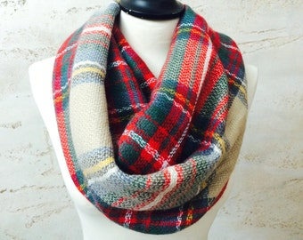 Chunky Infinity Scarf Plaid Infinity Scarf Blanket Scarf Infinity Scarf Womens Scarf Plaid Winter Scarf Loop Scarf Circle Scarf
