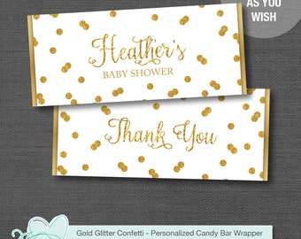 Gold Glitter Confetti Candy Bar Wrapper Printable, Chocolate Bar Wrapper, Hersheys Bar Wrapper, Baby Shower, Bridal Shower, 28C, 29C