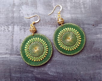 Green Earrings Bohemian Leather Earrings Boho Jewelry Gold Green Dangle Earrings Boho  Chic Tribal Earrings  Embroidered Mandala Earrings
