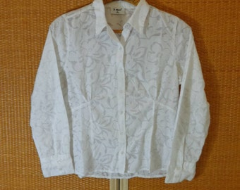 80s.Women White Blouse Large Size
