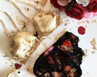 Wanda Silk Gold Bra & Panties Lingerie Set