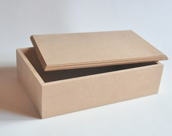 MDF Wooden Box with detachable Top. Unfinished MDF Wood Box. Decoupage Box.