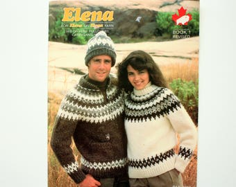 Seven Elena Patterns - Elena 2706, 2014, 2015, 2705, 2702, 2101,  2011   - Sweaters  and Hats for Him and Her - Matching Sweaters