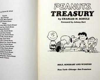 Peanuts Treasury by Charles Schulz, Charlie Brown book, Peanuts Gang, vintage Charlie Brown