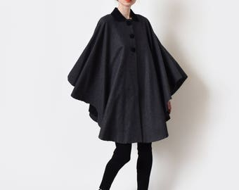 1960s Charcoal Grey Wool Cape 60s Vintage Lightweight Capelet XS S M