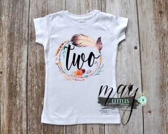 I'm Two Shirt - Two Cute Tshirt - Birthday Shirt - 2nd Birthday Boho - 2nd Birthday Shirt