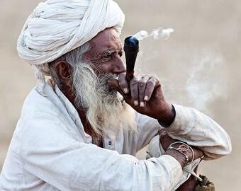 The Smoker, Pushkar Camel Fair, Rajasthan, India, travel photography, fine art print, portrait, wall decoration, home decor, photography