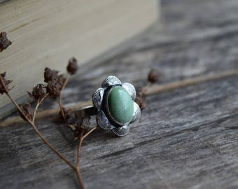 Kingman Turquoise Ring Southwestern Jewelry Turquoise Ring Hand Stamped Jewelry Bohemian Jewelry