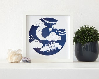 Moon and stars paper cut. Moon face art. Night sky paper cut. Moon wall art.  Moon and clouds art. Star quote art. Mystic art.