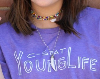 Multicolored rainbow seed beed single or double wrap choker necklace with gold/pearl colored pendant
