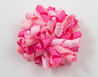 Girls Pink Hair Bow, Pink Korker Bow, Pink Hair Bow, Pink Bow, Pink Curly Bow, Girls Pink Bow (Item #10004)