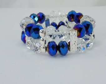 Double Row Crystal Stretch Bracelet, Bead Bracelet, Crystal Bracelet, Stretch Bracelet, Blue Faceted Crystals, Silver Tone Spacers