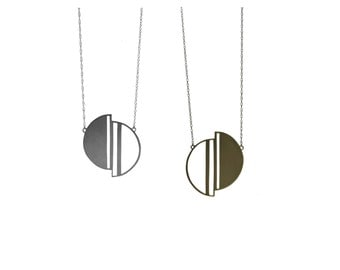 Half Moon necklace - moon pendant inspired by Deco