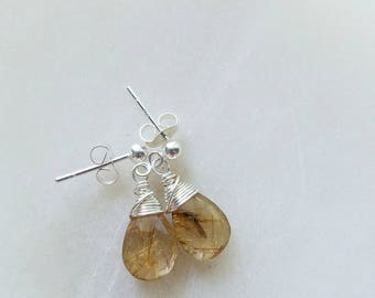 Rutilated Quartz Earrings, Sterling Silver Stud Earrings, Rutilated Quartz Stud Earrings, Rutilated Quartz Jewelry, Gold Rutilated Quartz