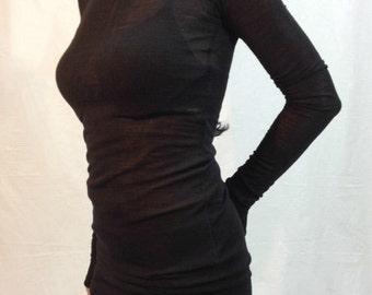 Black Long Sleeve Tunic Top,/Womens Casual Blouse/ Long Sleeves Dressy Top Casual Maxi Shirt Top/F1047