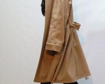 Hooded Long Wool Coat/ Winter Cape Coat /Cashmere Wool Coat /Long Sleeve Trench Coat/ Large Pockets Coat/ Autumn Winter Beige Coat/F1322