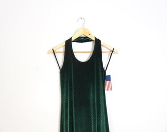 Vintage 90s Deadstock Green Iridescent Stretchy Halter Bodycon Dress With 3d Nonpareils Size S/M