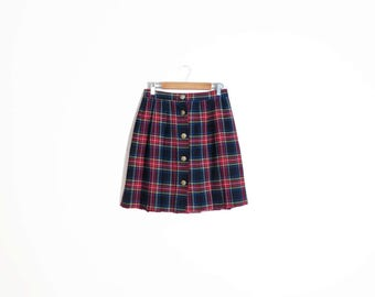 Vintage 90s Grunge Plaid Clueless Schoolgirl Gold Button Front High Waisted Pleated Mini Skirt Size S/M