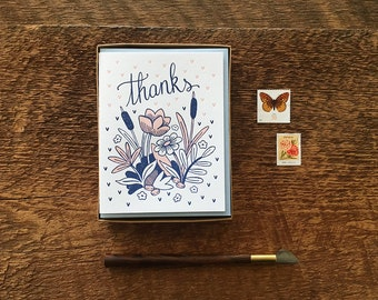 Flowers Thanks, Floral Thank You Cards, Boxed Set of  Letterpress Cards, Blank Inside