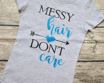 Messy Hair Don't Care, Girls Youth Glitter Vinyl Graphic T-Shirt Sizes 3-16 & multiple colors