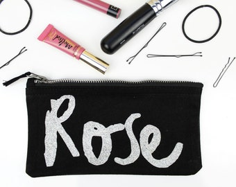 Personalised Makeup Bag - Small Customised Zipper Pouch - Cursive Lettering - Pencil Case - Black with Holographic Silver Glitter Name