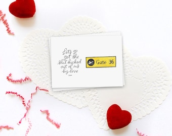 let's go get the shit kicked out of us by love love actually greeting card // valentine's day card // galentine's card // greeting friend