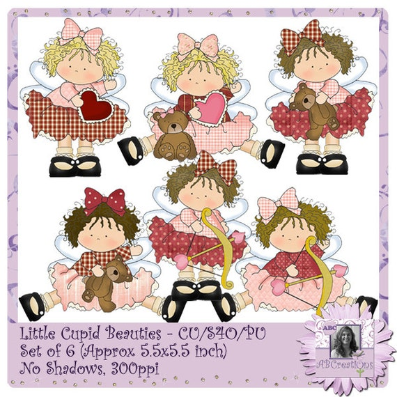 Little Cupid Beauties, digital stickers, die cuts, clip art, valentines, love, girls, dresses, teddy bear, anniversary, wedding, digiscrap