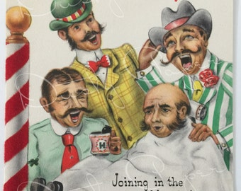 Dad / Barbershop Quartet - Unused Vintage 1950s Hallmark Christmas Card