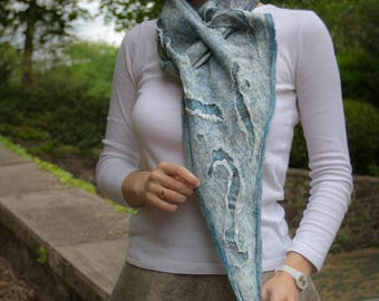 Felted accessory, blue, boho scarf, nuno felted accessory, SJR, wool gift for her, unique Scarf, wearable art