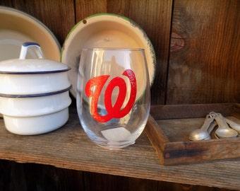 Hand Painted Washington Nationals Stemless Wine Glass
