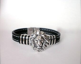 Lion Head Black Men's Bracelet, Stainless Steel and Black Rubber Lion Head Bracelet, Black Men's Bracelet, Christmas, Birthday, Gift for Him