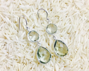 Green amethyst earrings set in sterling silver