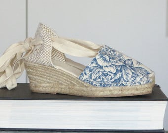 Lace-up espadrille wedges - TOILE de JOUY COLLECTION - mumishoes - made in spain