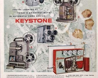 1959 Keystone Movie Camera Ad - 1950s Christmas Tree Decor - Happy Children - Vintage Photography Ads