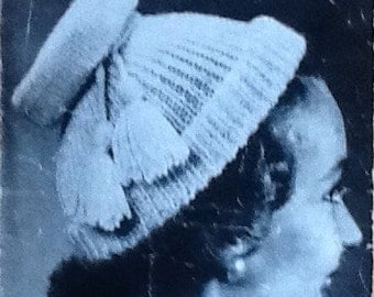 Original 1940s Knitting Pattern for Polo Mode Hats with 12 Variations