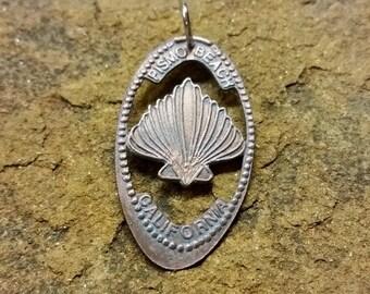 Seashell necklace, California beach smashed penny, Pismo Beach smashed penny pendant, smashed penny hand cut coin