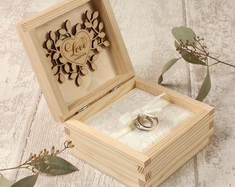 Rustic Floral Ring Bearer Box, Wedding Ring Box, Personalized Ring Box, Rustic Ring Box, Wedding Ring Holder, Ring Bearer Pillows,Wooden Box