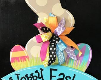 Bunny and Eggs Door Hanger, Easter Door Hanger, Easter Wreath, Bunny Wreath