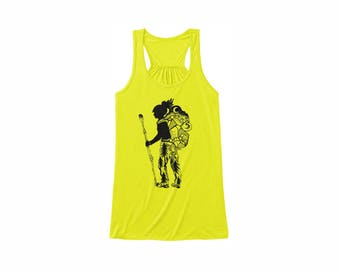 Hiker / Backpacker Girl tank top Size S-2XL 5 colors, neon yellow, Coral, Kelly Green, Neon Pink, White